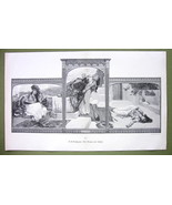 EASTERN MAIDEN Attacked by Love Demon - VICTORIAN Era Engraving Print 13... - $16.20