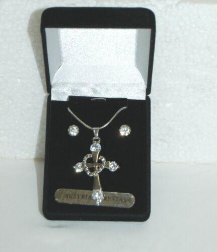 BVT NK Necklace Earring Set Cross Design Silver Color Austraian Crystal Stones