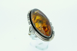 Ladies ring with amber stone set in sterling silver  - $115.00