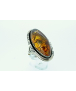 Ladies ring with amber stone set in sterling s... - $115.00