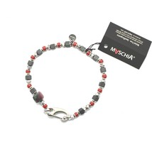 Silver Bracelet 925 Ruby Zoisite Coral BPAN-13 Made in Italy by Maschia image 1