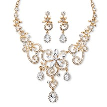 Simulated Crystal Scroll Gold Tone Necklace Earrings Set - $21.99