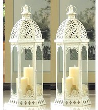 2 Large Distressed Tower Lantern White Candle Holder Wedding Centerpiece... - $38.75