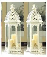 2 Large Distressed Tower Lantern White Candle Holder Wedding Centerpiece... - $38.75