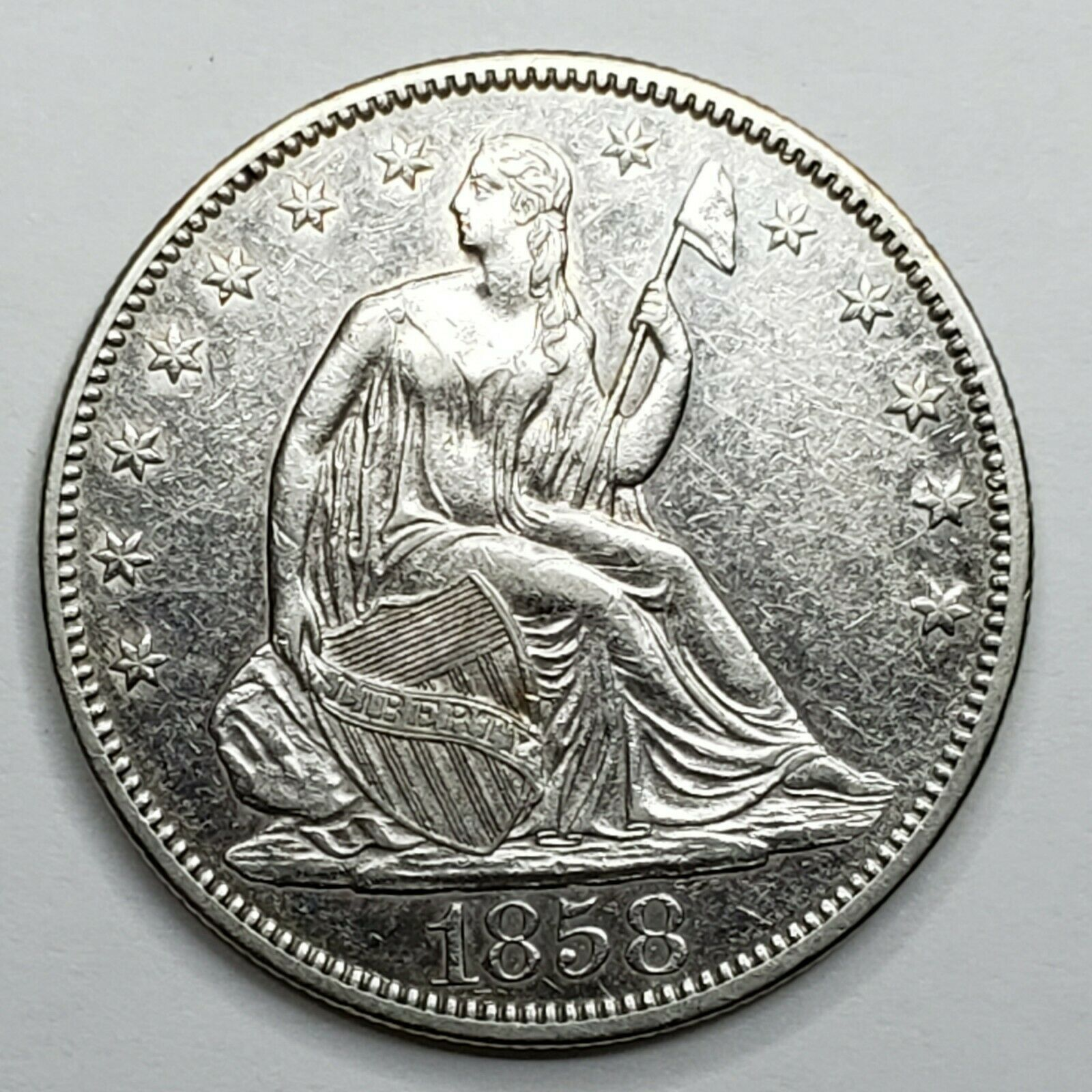 1858 Seated Liberty US silver half dollar coin Lot 519-120