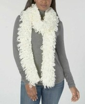 DKNY Donna Karan Loopy Shag Scarf, White Cream - $37.62
