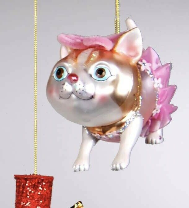Primary image for Katherine's Collection calico Cat Christmas tree Ornament pink tutu 22-24376