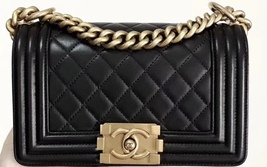 100% AUTHENTIC CHANEL BLACK QUILTED LAMBSKIN SMALL BOY FLAP BAG GHW - $4,399.99
