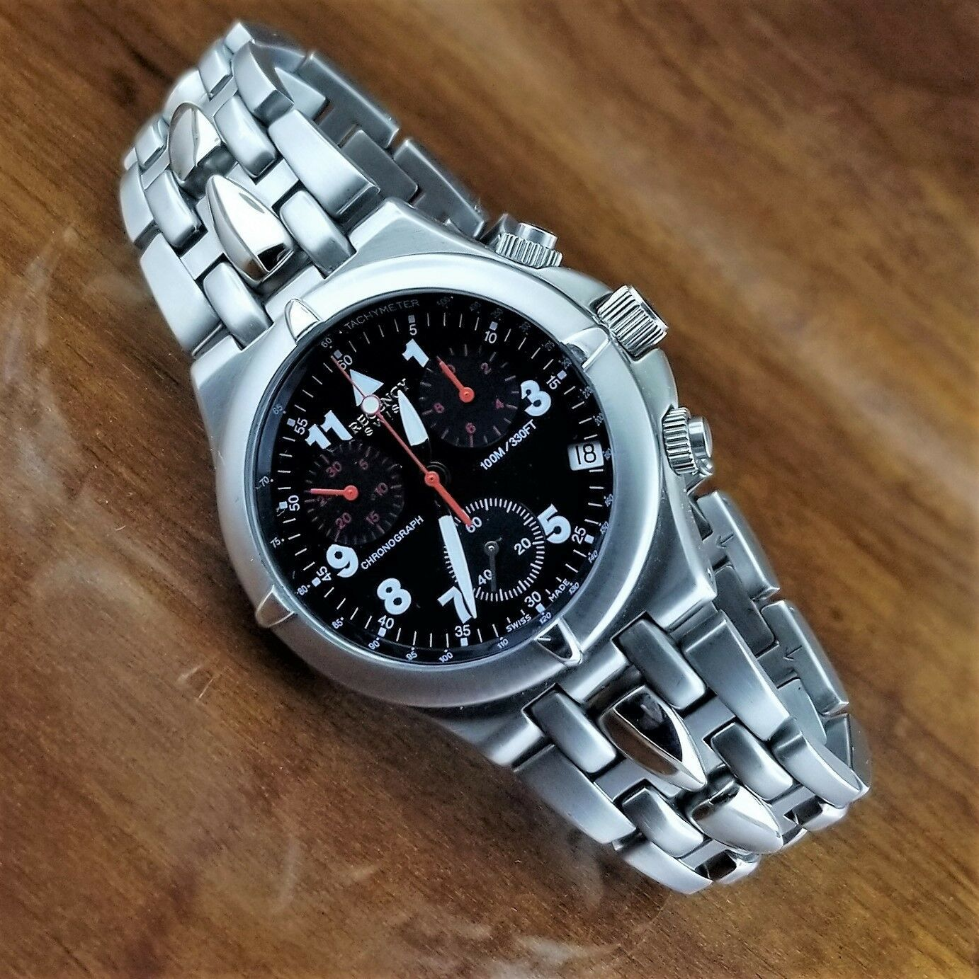 Mens REGENCY Swiss Military Chronograph Tachymeter Watch All Stainless 40MM