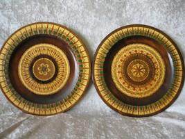 2 Hand Carved & Pierced Wooden Polish Folk Art Plates w/ Detailed Inlaid... - $34.20