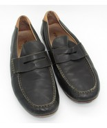 Fossil mens 11 Shoes Driving Moccasins Slip On Penny Loafers Black Leather - $30.00