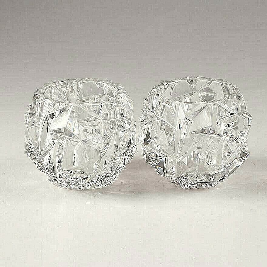 2 (Two) TIFFANY & CO ROCK CUT Lead Crystal Votive Candle Holders- Signed