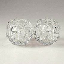 2 (Two) TIFFANY & CO ROCK CUT Lead Crystal Votive Candle Holders- Signed - $58.65