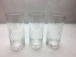 VINTAGE Set of 3 HIGH BALL Crystal CUT Diamond FAN Design GLEN VIEW Club... - $27.41