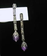 Long Amethyst Earrings Sterling Marcasite silver Dangle Drop Earrings Pi... - $95.00