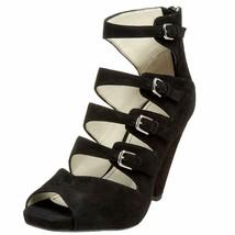 Franco Sarto Suede Strappy Buckle Zip Up Open Toe Sandal Heels Shoes Bla... - $55.00