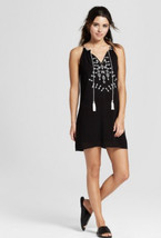 NWT Speechless black embroidered crochet tie neck shift dress Juniors Si... - $24.99