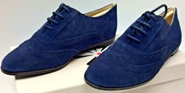 Isaac Mizrahi 'Fiona' Dark Blue Suede Pinhole Lace Up Wingtip Oxford Flats 6 W - $34.64
