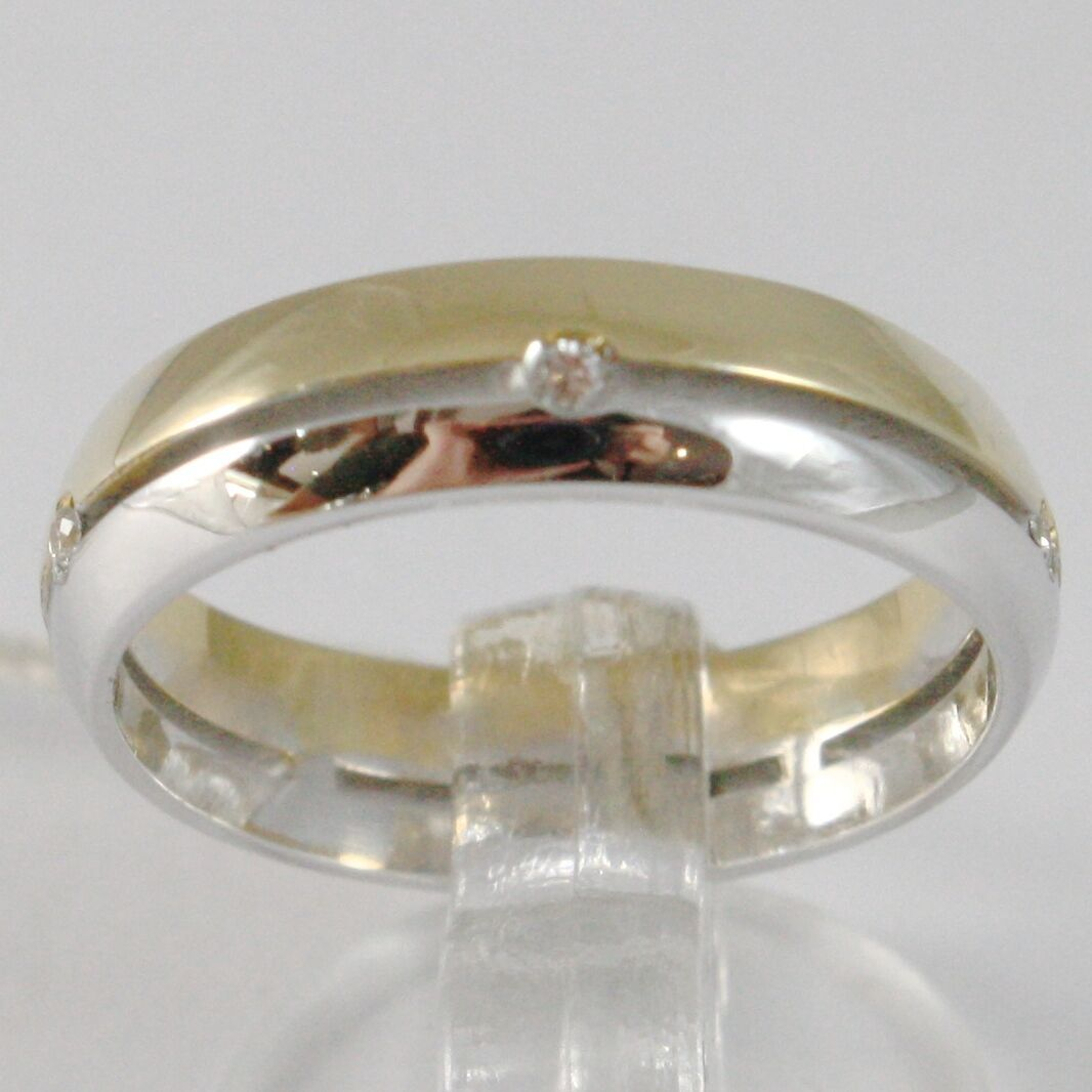White Gold Ring Yellow 750 18K, Faith Engagement with Diamonds 0.05, Alternating