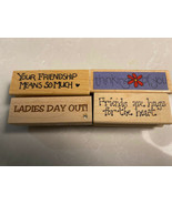NEW MOUNTED WOOD RUBBER FRIENDS SAYINGS STAMPS YOUR CHOICE - $2.92+