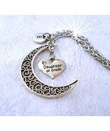 Daughter of the Groom Filigree Crescent Moon Necklace with Letter Charm ... - $16.82