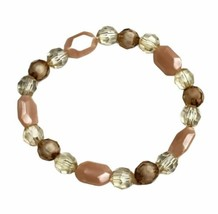 Pink Pale Yellow Beaded Stretch Bracelet Handmade Handcrafted Costume Jewelry - $7.99