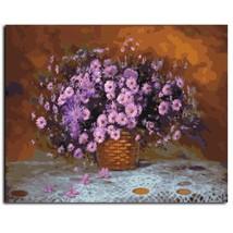 Paint By Number Kit Violet Flower Bouquet Basket Vintage DIY Canvas Unfi... - $13.04