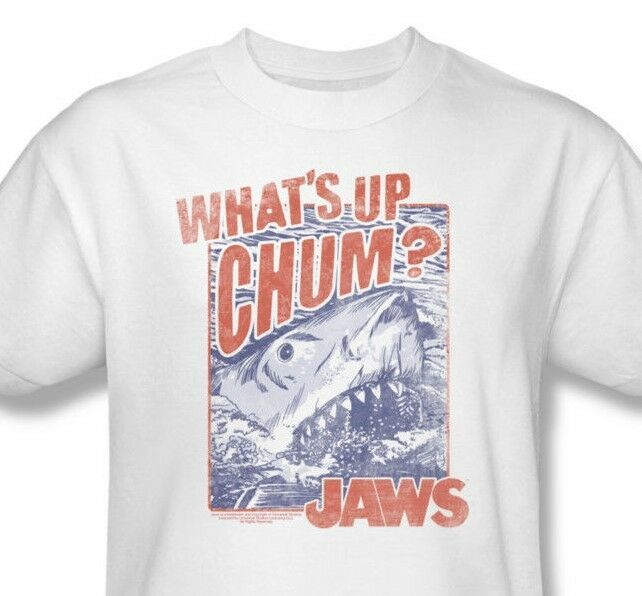 Jaws T-shirt Whats Up Chum retro 70s movie 100% cotton white tee UNI537