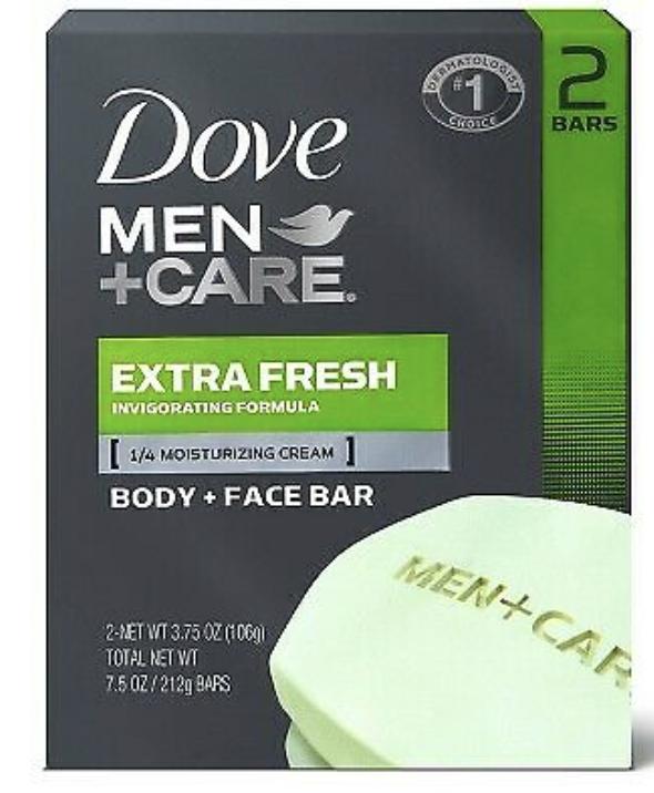 Dove Men+Care Extra Fresh Body and Face Wash Soap Bar, 2 Bar Pack, 4 Oz/Bar - $6.79