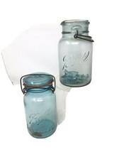 2 Vtg Ball Sure Seal Pat'd July 14, 1908 Blue Glass Quart Jar Wire Bail + Ball - $32.30