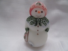Fenton Art Glass 2001 White Satin Frosty Friends Snowlady Mib - $65.00