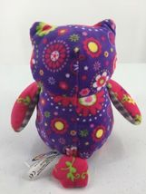 """Mary Meyer Plush Owl Purple Pink Floral Flowers Stuffed Toy 7"""" Tall image 5"""