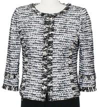 ST. JOHN Black Bright White Eyelash Textured Knit Fringe Cropped Jacket ... - $499.99