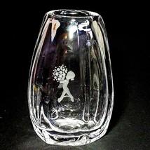 1 (One) KOSTA BODA Heavy Crystal Vase Girls w Flowers by Elis Bergh W197 - $31.58