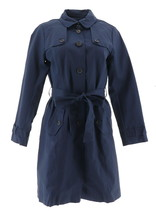 Isaac Mizrahi Water Resistant Trench Coat Printed Lining Dark Navy 2 NEW... - $89.08