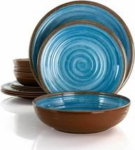 Elama Rippled Tides 12 Piece Lightweight Melamine Dinnerware Set in Blue - $46.46