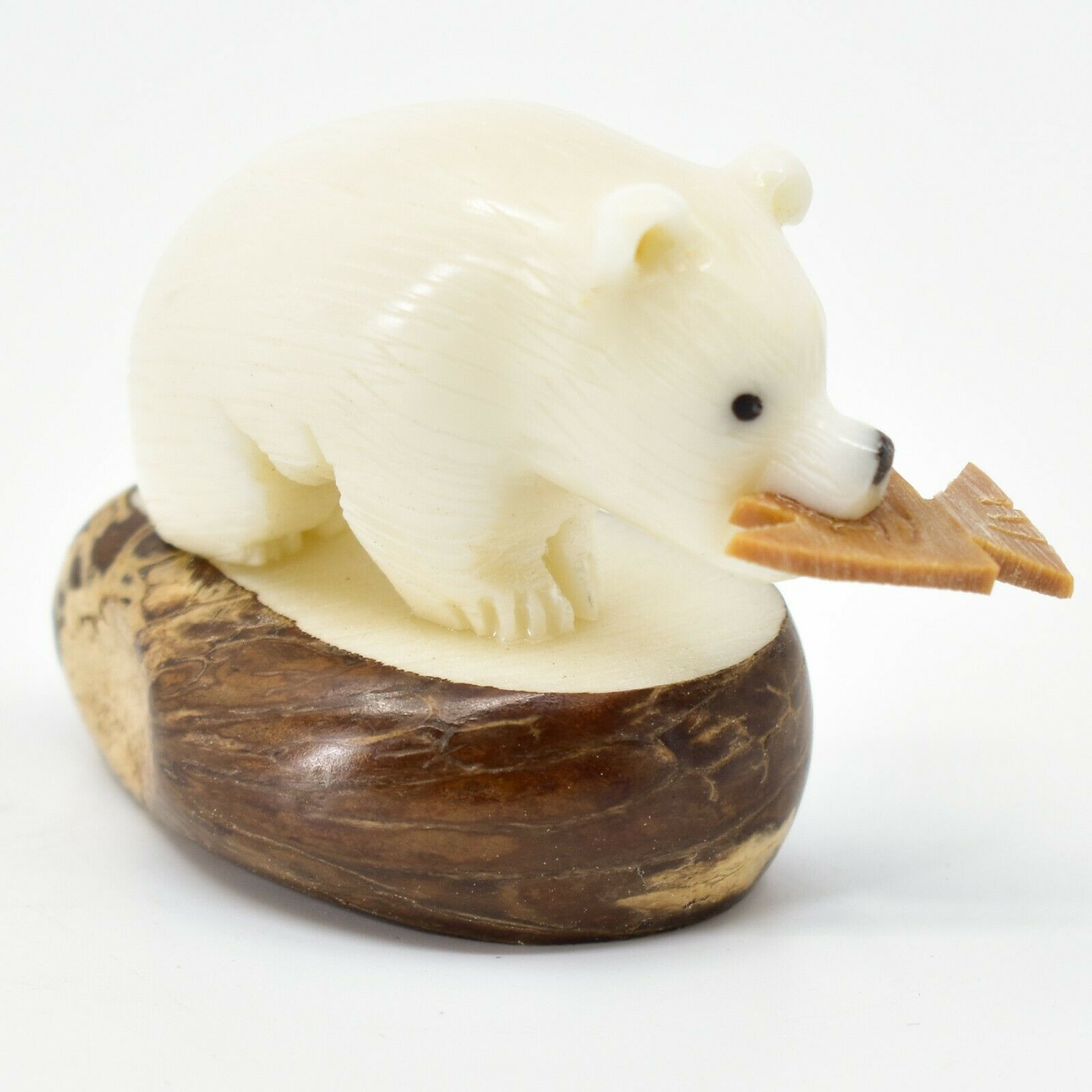 Hand Carved Tagua Nut Carving Polar Bear with Fish Figurine Made in Ecuador
