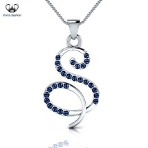 """S-Initial Pendant W/ 18"""" Chain In 18K White Gold Over Blue Sapphire 925 ... - £42.06 GBP"""