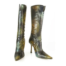 Jimmy Choo Multicolor Snakeskin Leather Boots Pointed Toe Shoes Zipper size 38.5 - $405.90