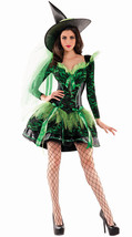 Sexy Party King Wicked Emerald Witch Green & Black Shaper Dress Costume ... - $82.99