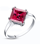 14K White Gold Fn. 925 Silver Princess Cut Pink Sapphire Engagement Wedd... - $60.30