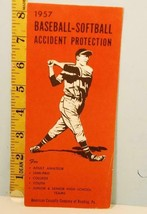 1957 Baseball Softball Accident Protection American Casualty Co. Brochure - $39.55