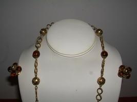 Vintage Brown & Goldtone Beaded Necklace & Clip Earring Set Japan - $19.75
