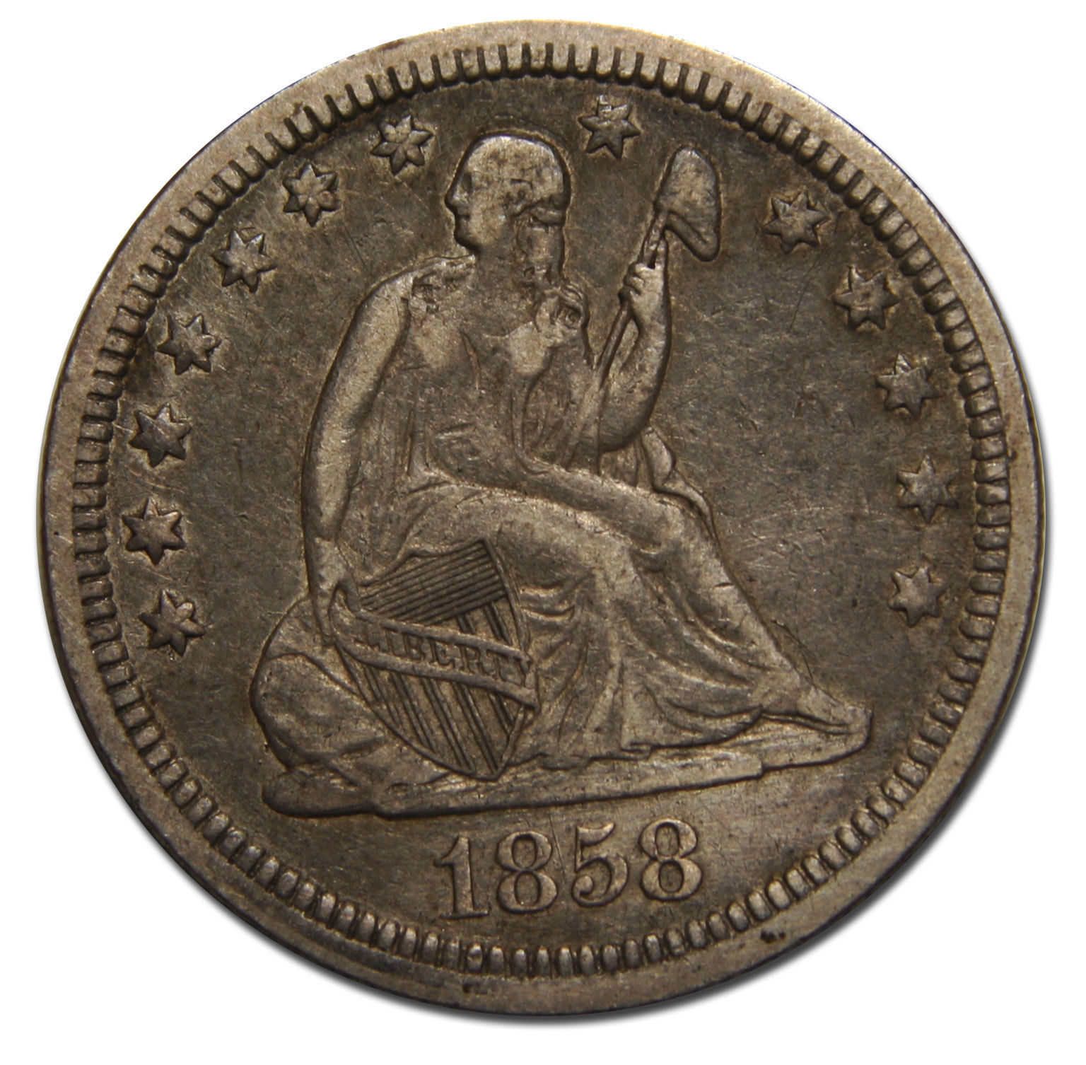 1858 Seated Liberty Quarter 25¢ Coin Lot# MZ 3548