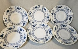 Set 6 Johnson Bros England Tea Plates Desert Small Blue White Flowers  - $19.39