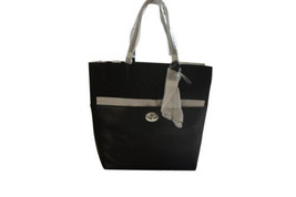NWT COACH 26476 BLACK LEGACY SIGNATURE LEATHER/JACQUARD TURNLOCK TOTE - $255.99