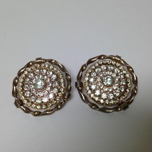 Vintage, Rare 1950s Gold Tone, Paved Rhinestone Clip Earrings - $5.65