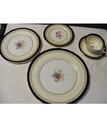 Aysnley Wadsworth Bone China 5 pc Place Setting England Cobalt Blue Floral - $150.00