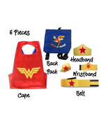 Super Hero Capes for Kids Halloween Costumes | 5pc Set | Red Star Girl 4-10 - $17.81