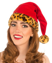 VELVET LEOPARD PRINT SANTA CLAUSE HAT ADULT HOLIDAY ACCESSORY ONE SIZE - $12.88